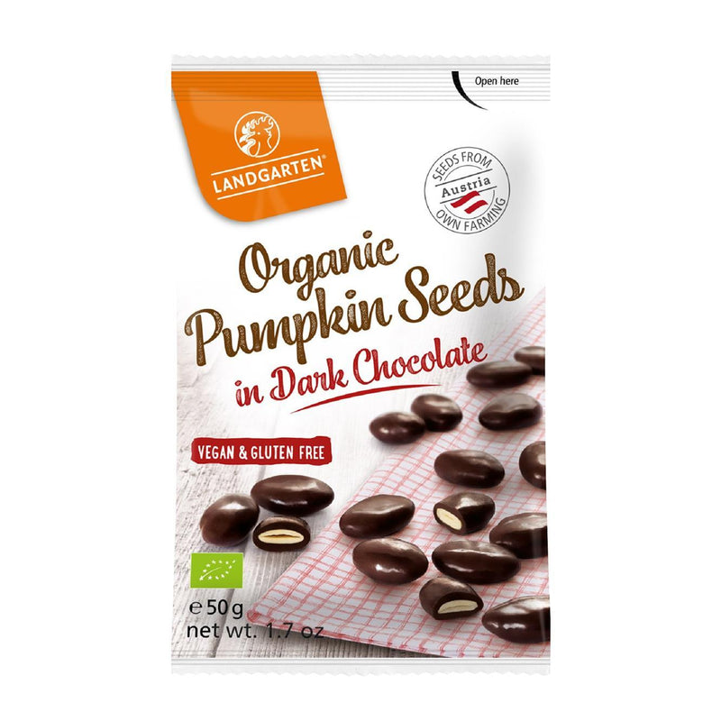 Chocolate Covered Snacks - Landgarten - Organic Pumpkin Seeds In Dark Chocolate (50g)