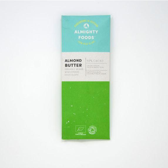 Chocolates/Bars - Almighty Foods - Organic Vegan Wholefood Chocolate - Almond Butter (30g)
