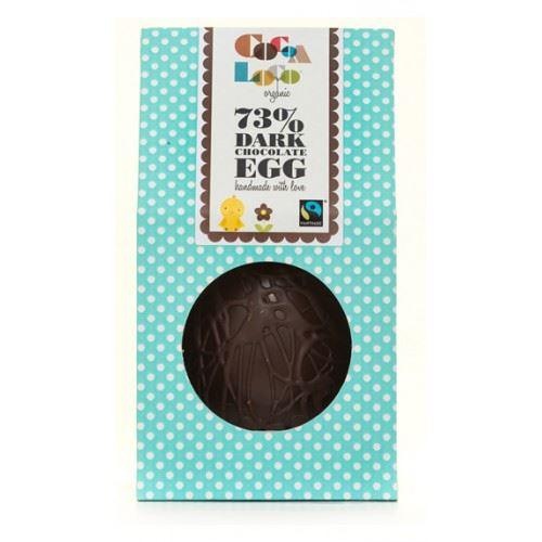 Chocolates/Bars - Cocoa Loco - Organic 73% Dark Chocolate Easter Egg With Buttons (225g)