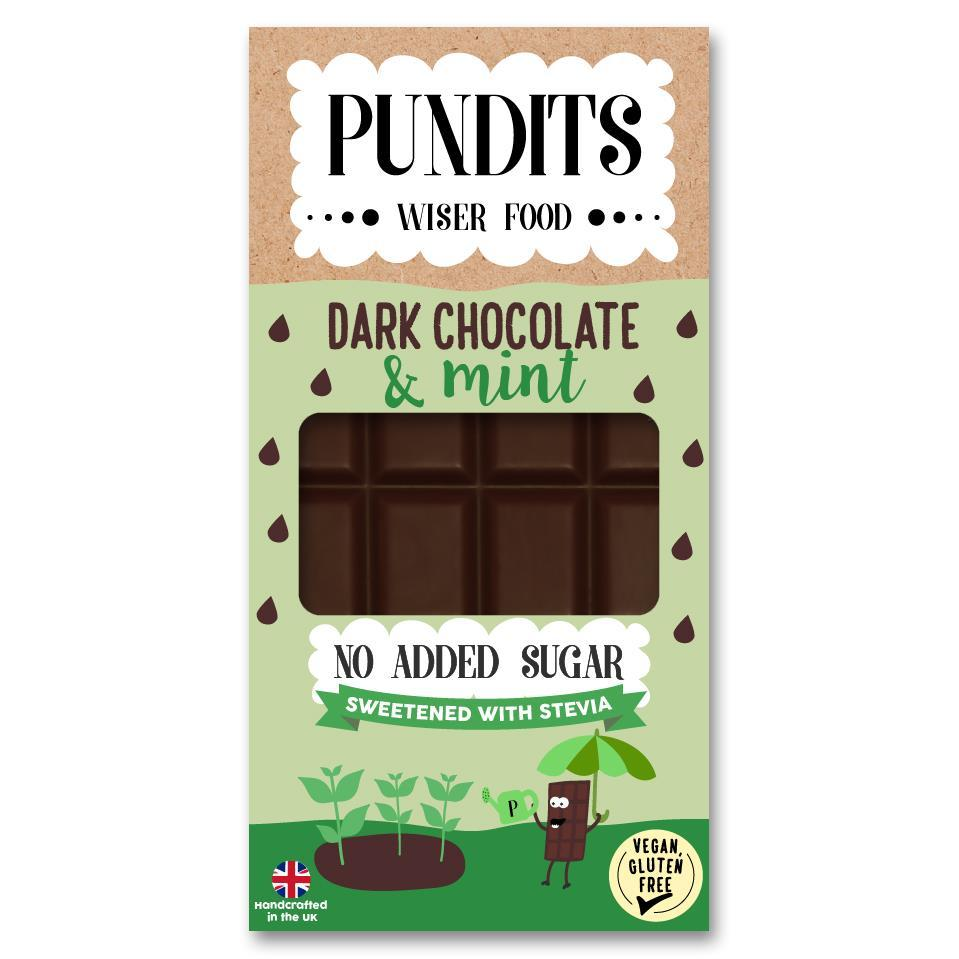 Pundits No Added Sugar Dark Chocolate Bar Mint 100g