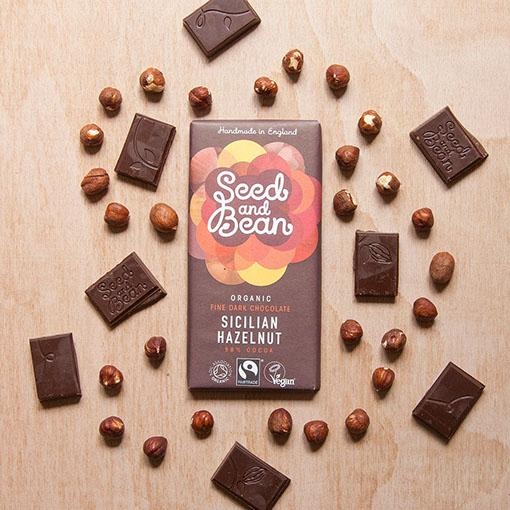 Chocolates/Bars - Seed & Bean Organic Fine Chocolate. Sicilian Hazelnut (85g)