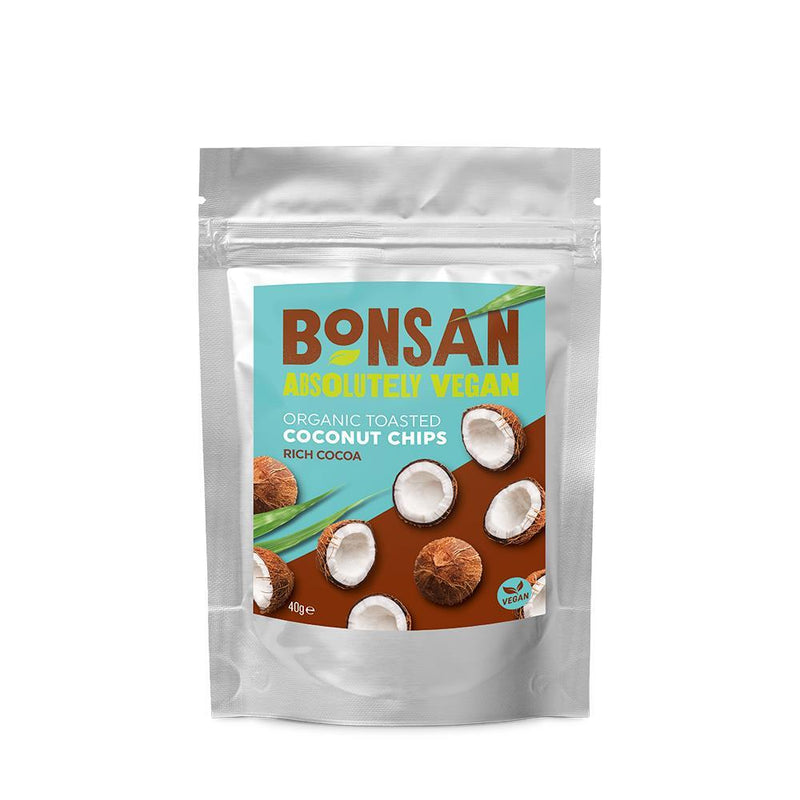 Crisps, Chips & Popcorn - Bonsan - Organic Coconut Chips Rich Cocoa (40g)