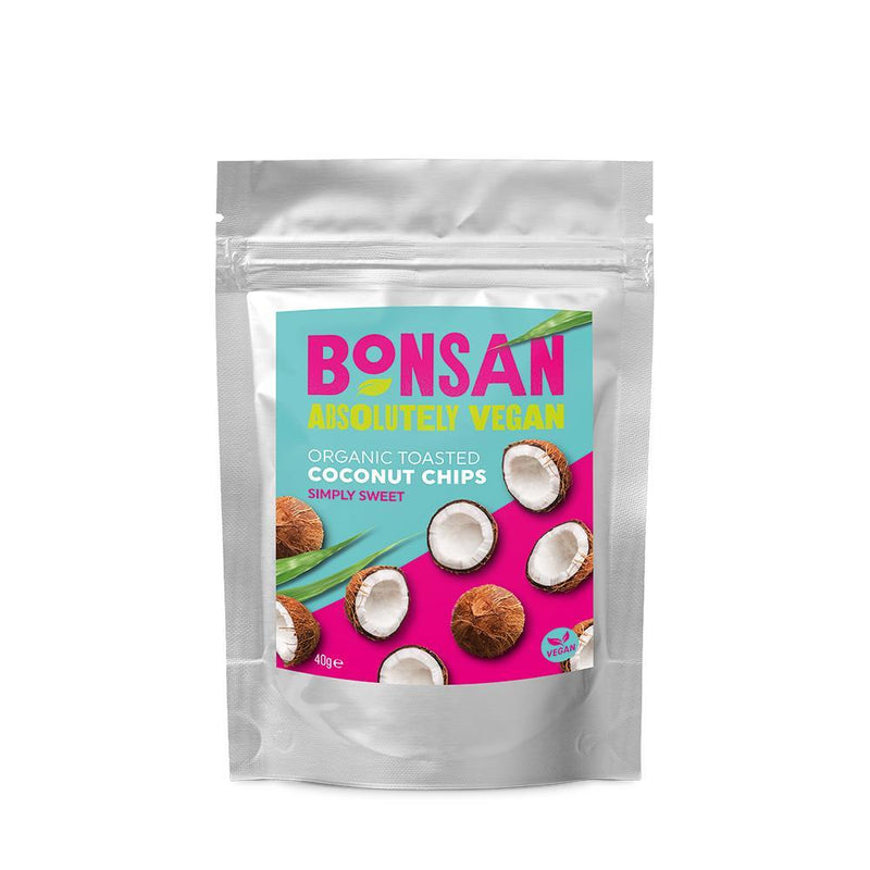 Crisps, Chips & Popcorn - Bonsan - Organic Coconut Chips Simply Sweet (40g)