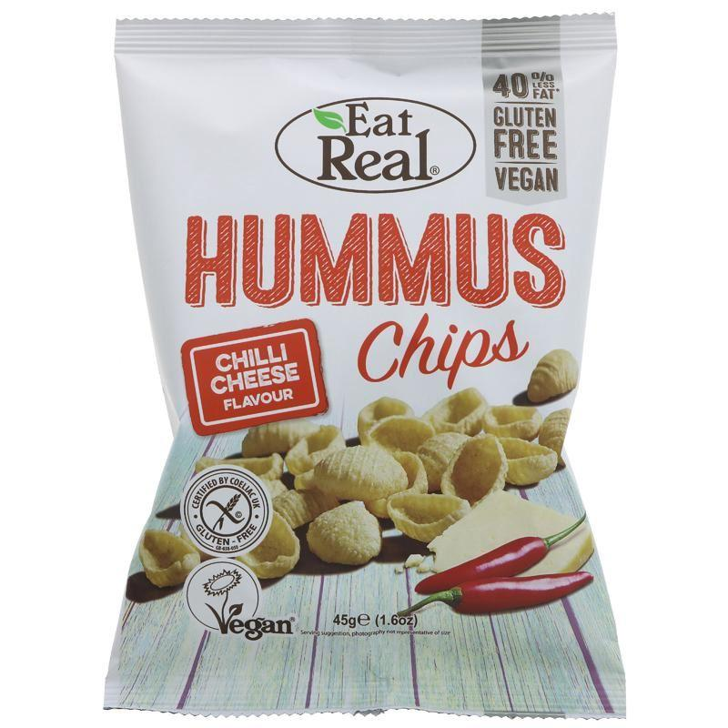 Crisps, Chips & Popcorn - Eat Real - Hummus Chips, Chilli Cheez Flavour (45g)