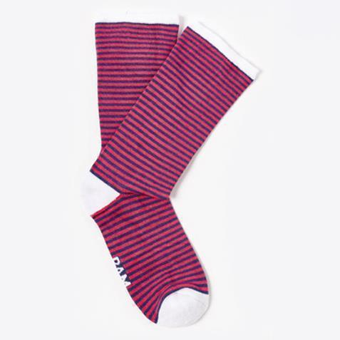 Ethical Clothing - Bamboo Clothing - Ladies Barbican - Stripe Socks: Size 4-7 Red & Blue With White Heel (1 Pair)
