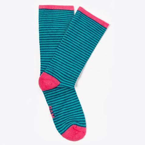 Ethical Clothing - Bamboo Clothing - Ladies Barbican - Stripe Socks: Size 4-7 Turquoise & Blue With Red Heel (1 Pair)