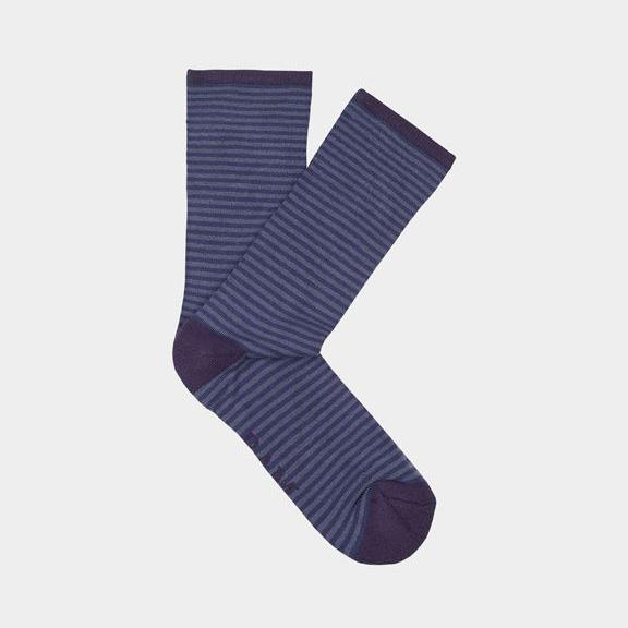 Ethical Clothing - Bamboo Clothing - Wembury - Narrow Stripe Socks: Size 4-7 Blue With Purple Heel (1 Pair)