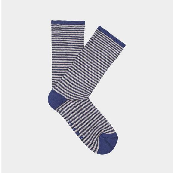 Ethical Clothing - Bamboo Clothing - Wembury - Narrow Stripe Socks: Size 4-7 Grey/Blue With Blue Heel (1 Pair)