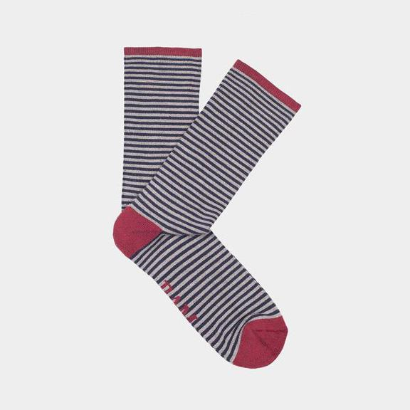 Ethical Clothing - Bamboo Clothing - Wembury - Narrow Stripe Socks: Size 4-7 Grey/Blue With Red Heel (1 Pair)