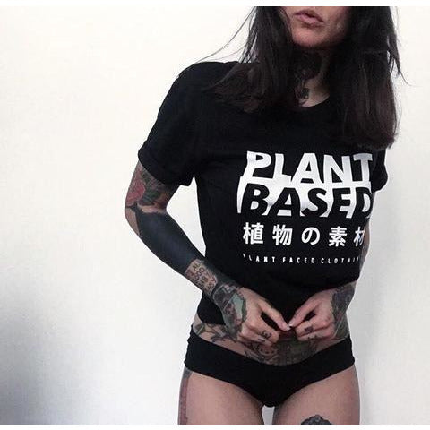 Ethical Clothing - PLANT FACED - Plant Based Kanji Tee - Black - 100% Organic Cotton T-Shirt