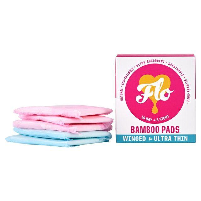 Feminine Hygiene - Flo - Bamboo Pads Day/Night Combo Pack, Winged, Ultra-Thin (15 Pads)