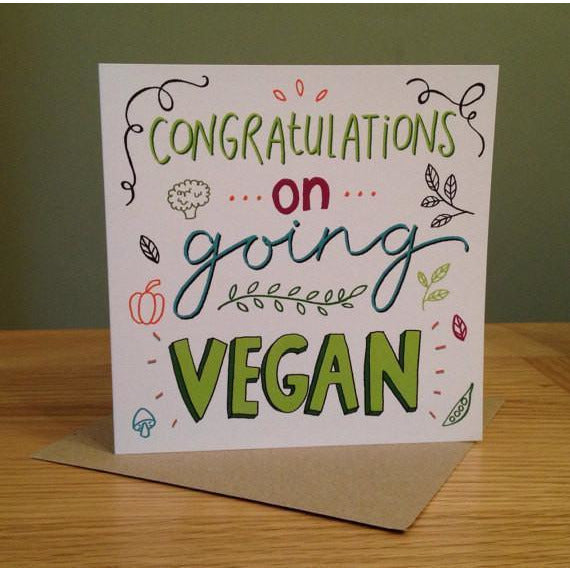 "Greeting Cards - Emily McCann - Vegan Greeting Cards - ""Congratulations On Going Vegan"""