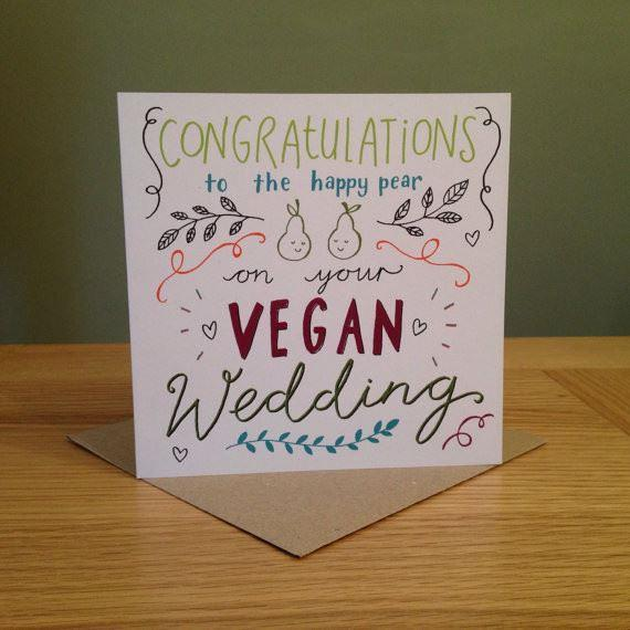 "Greeting Cards - Emily McCann - Vegan Greeting Cards - ""Congratulations To The Happy Pear On Your Vegan Wedding"""