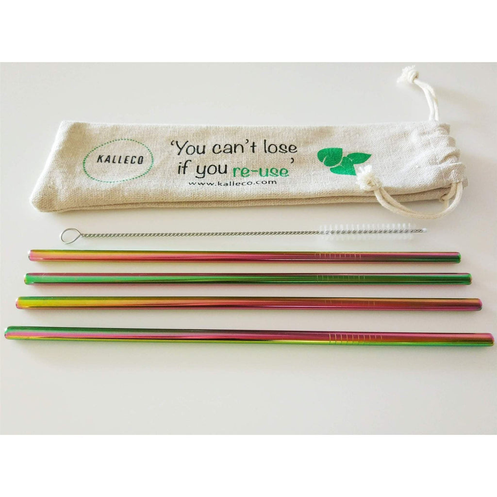 Kitchen Essentials - Kalleco - Stainless Steel Metal Rainbow Straws X4 Pack & Cleaner