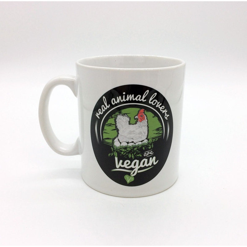 "Mugs - TVK Mug ""Real Animal Lovers Are Vegan"" - Chicken (White)"