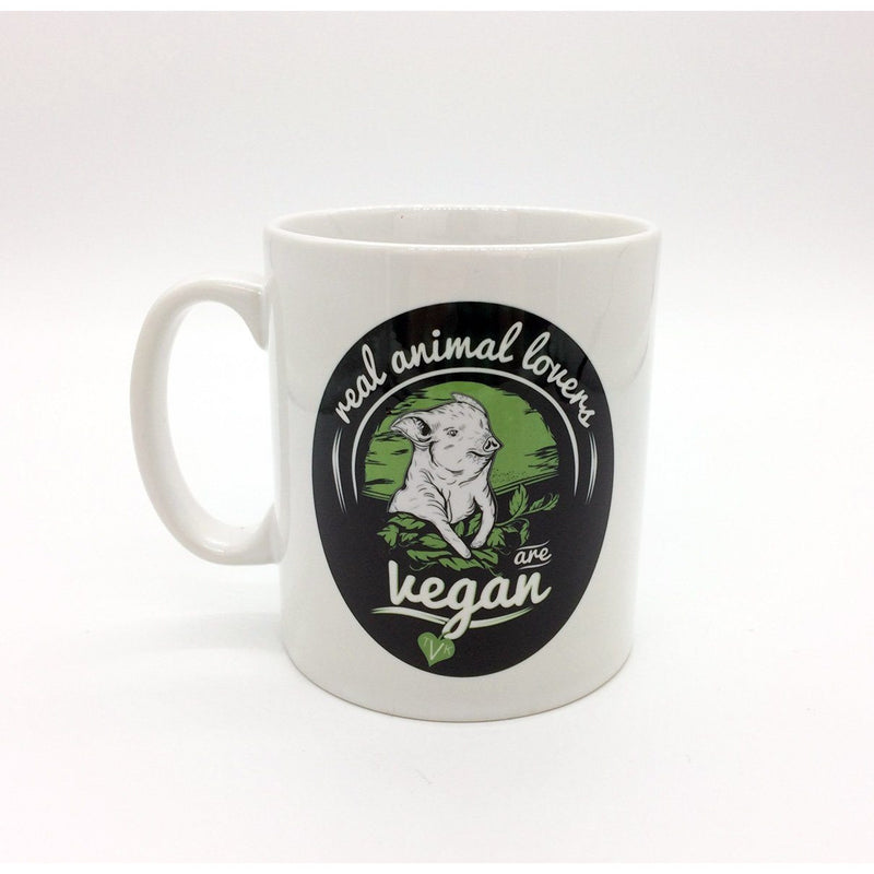 "Mugs - TVK Mug ""Real Animal Lovers Are Vegan"" - Pig (White)"