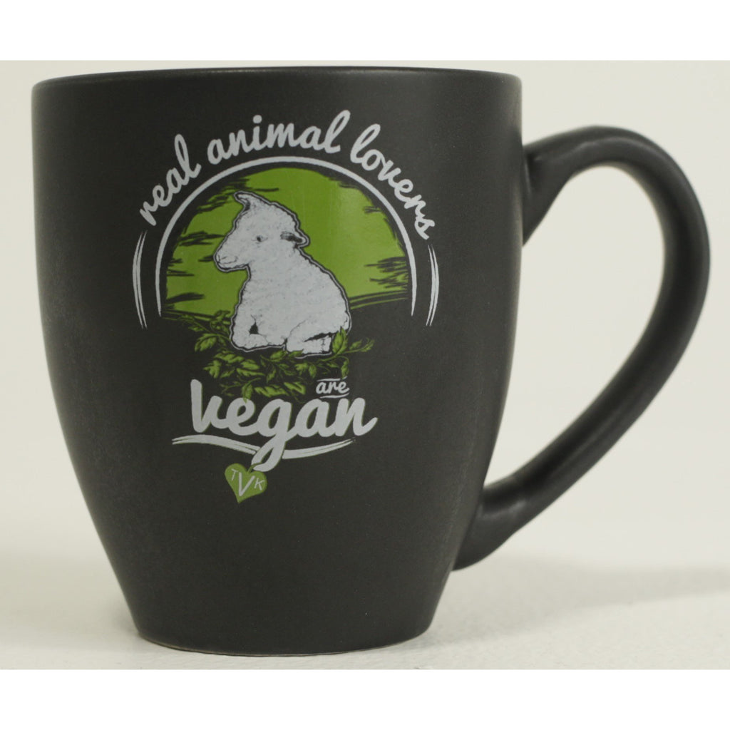 "Mugs - TVK ""Real Animal Lovers Are Vegan"" - Sheep (Black)"