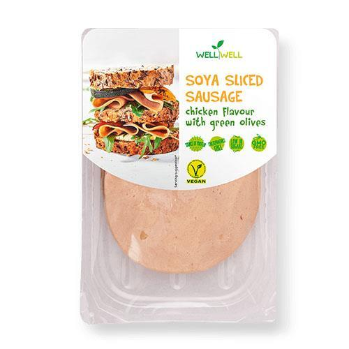 Sandwich Slices - Well Well - Soya Sliced Sausage - Chicken Flavour With Green Olives (100g)