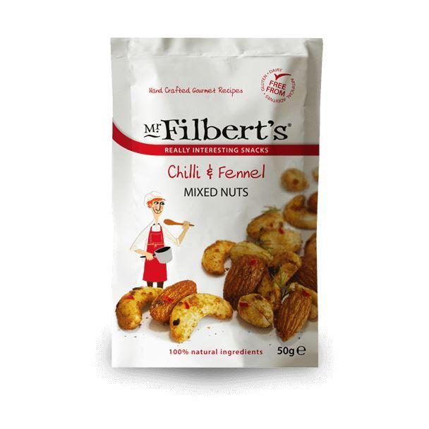 Savoury Snacking - Mr Filberts - Pocket Snacks - Chilli & Fennel Mixed Nuts (50g)