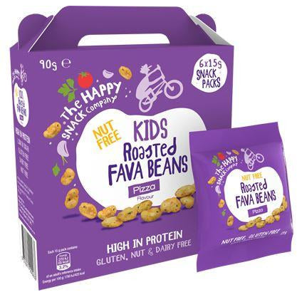 Savoury Snacking - The Happy Snack Company - Kids Roasted Fava Beans Case - Pizza (6x15g)
