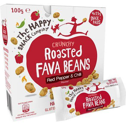 Savoury Snacking - The Happy Snack Company - Roasted Fava Beans Box - Red Pepper & Chilli (4x25g)