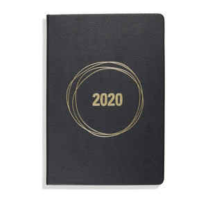 Vegan Accessories - ThreeSixFive - Black Vegan PU Leather 2020 Diary