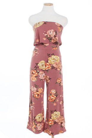 003 Tube Top Floral Jumpsuit