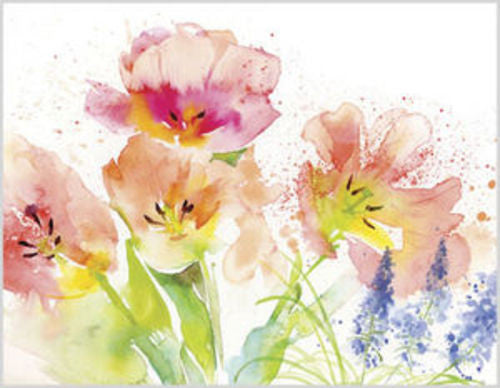 Gina B. Designs Watercolor Tulips Boxed Note Cards-- Set of 8 with Pink Envelopes