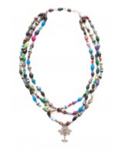 Inspired Tree of Life Recycled Paper Bead Jewelry - Fair Trade (3-Strand Necklace)