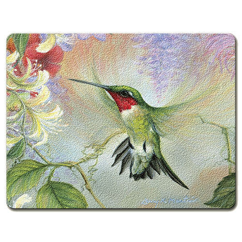 "Hummingbird and Honeysuckle 15""x11.5"" Tempered Glass Cutting Board"