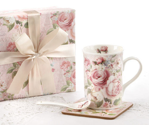 "Delton Products 4.9"" Porcelain Mug- Coaster- Spoon Set, Rose Design"