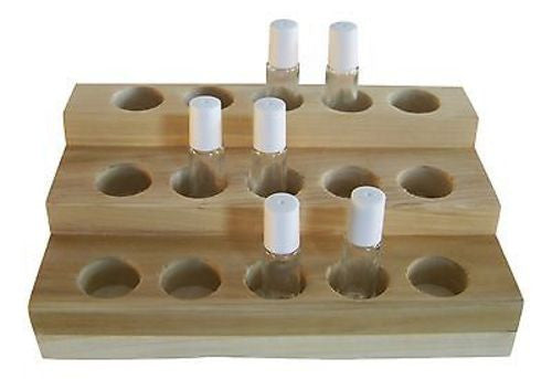 Handmade Essential Oil Display Medium Size Rack with Six 5 ml Roll-On Bottles