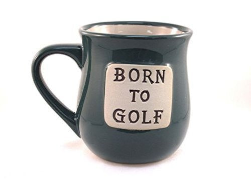 Born to Golf 16 Ounce Hand Crafted Hi-Fire Stoneware Clay Word Mug