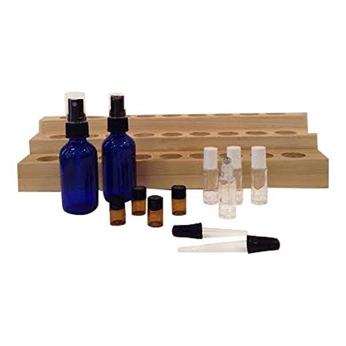 Deluxe Handmade Essential Oil Display Rack Bundle- 13 Items: 1 Essential Oils Display Rack, 4 - 5 mL Roll-on Bottles, 2 Spray Bottles, 4 Amber Bottles, 2 Droppers