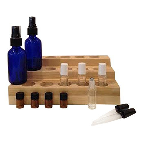 Deluxe Handmade Essential Oil Display Rack Bundle- 13 Items: Essential Oils Display Rack, 4 - 5 mL Roll-on Bottles, 2 Spray Bottles, 4 Amber Bottles, 2 Droppers