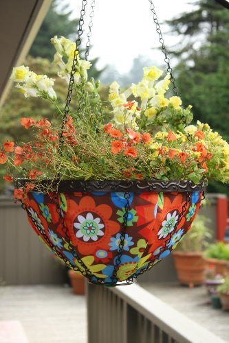 Toland Home Garden Bright Blooms 14-Inch 2-Gallon Decorative Insulated Hanging Art Planter Basket 202037