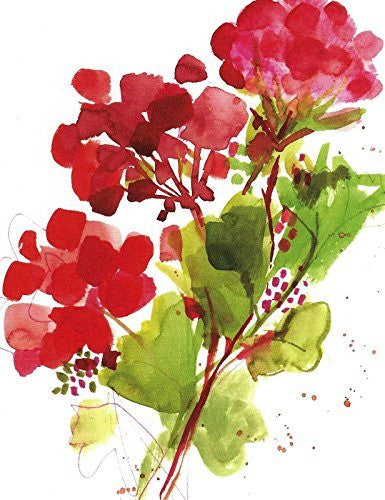 Gina B. Designs Red Geranium Boxed Blank Note Cards-- Set of 8 with Red Envelopes