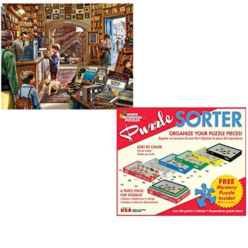 White Mountain Puzzles 1000 Piece The Old Book Store Adult Jigsaw Puzzle with Puzzle Accessories including 6 Puzzle Sorter Trays and Mystery Puzzle
