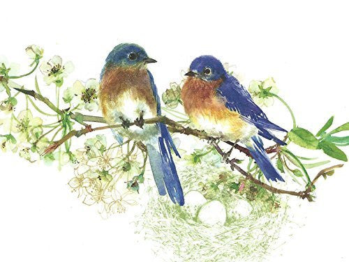 Gina B. Designs Bluebirds Boxed Note Cards-- Set of 8 with Spring Green Envelopes