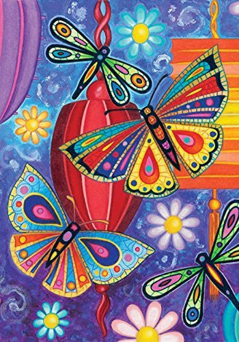 Toland - Bright Wings - Decorative Butterfly Dragonfly Colorful Multicolor USA-Produced Garden Flag