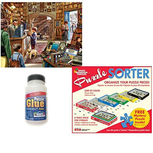 White Mountain Puzzles 1000 Piece The Old Book Store Adult Jigsaw Puzzle with Puzzle Accessories including 6 Puzzle Sorter Trays, Mystery Puzzle and Puzzle Glue Kit.