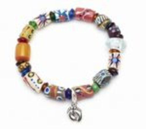 "Fair Trade ""Barefoot"" Recycled Glass Trade Beads Bracelet"