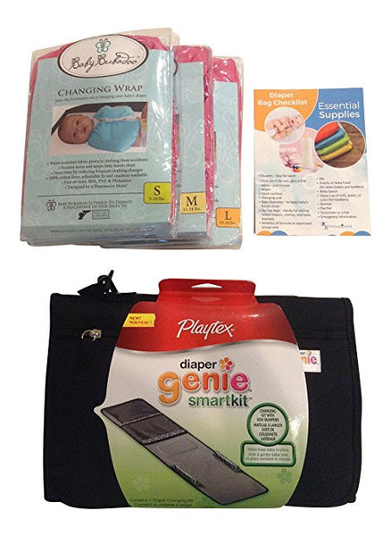 Diaper Changing Kit Bundle: On-the-go Travel Change Pad Set Includes: Playtex Diaper Genie SmartKit, Diaper Bag Checklist and 3 Baby Bubadoo Changing Wraps.