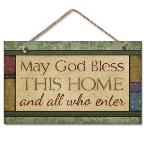 May God Bless This Home Sign Inspirational Plaque