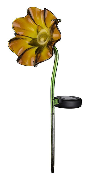 Regal Art & Gift Orange / Yellow Mini Solar Poppy Garden Stake