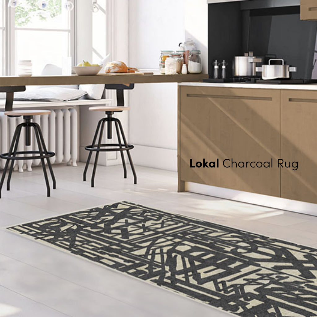 Lokal Charcoal Graffiti Rug in Dining Room