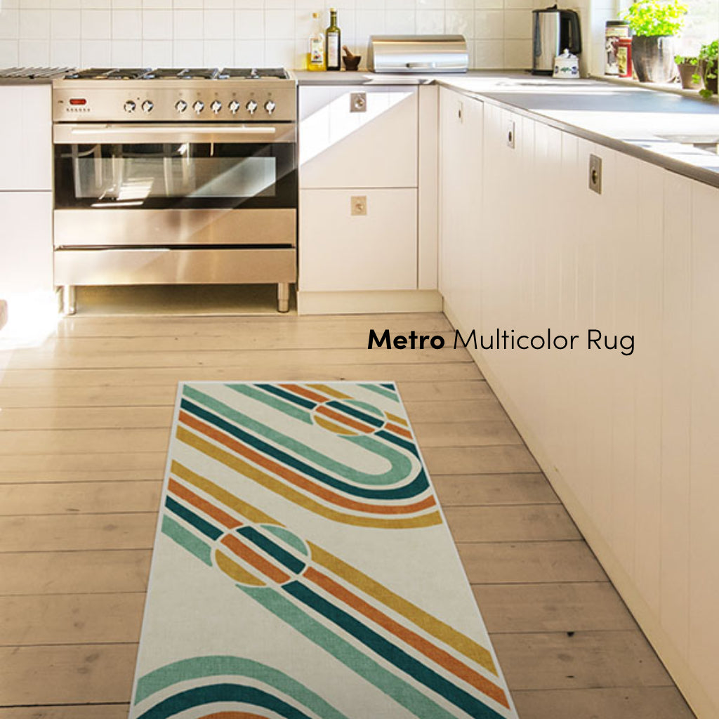 Subway Map Inspired Metro Multicolor Rug in Kitchen