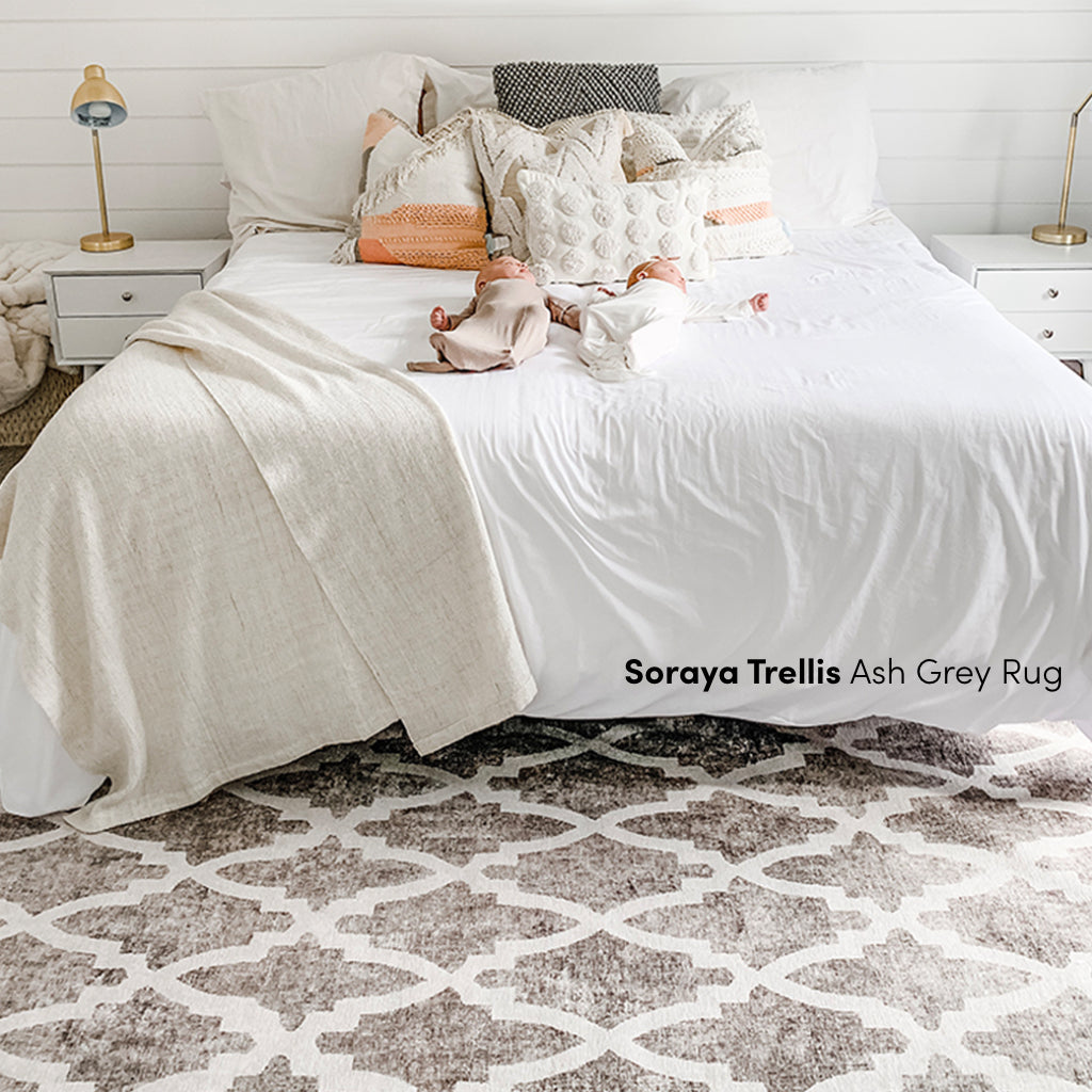 Soraya Trellis Ash Grey Rug With Babies