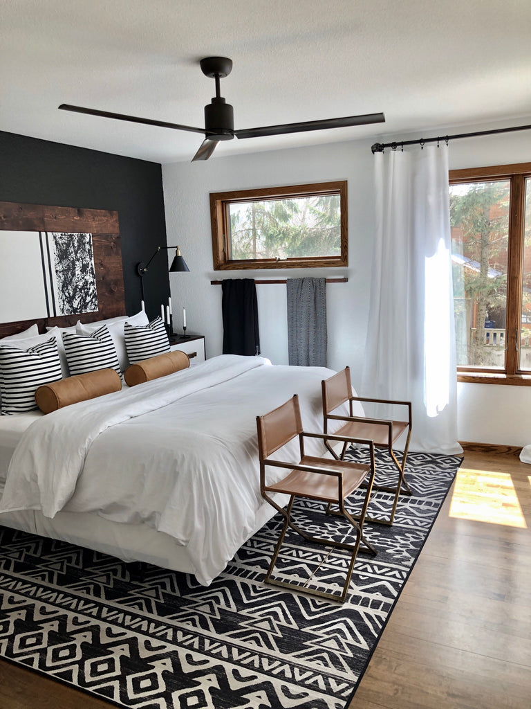Linear Aztec Black and White Rug in Bedroom
