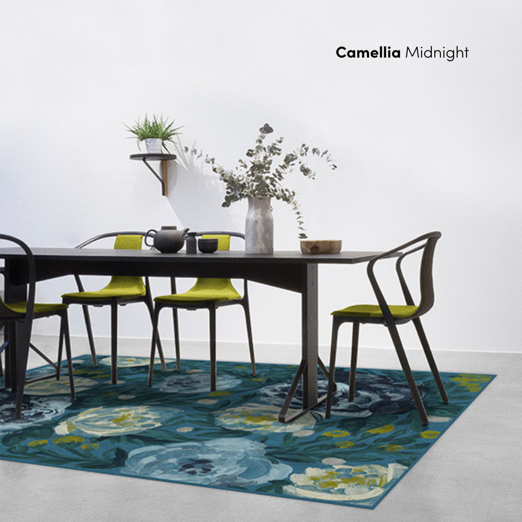 Camellia Midnight Floral Rug in Dining Room